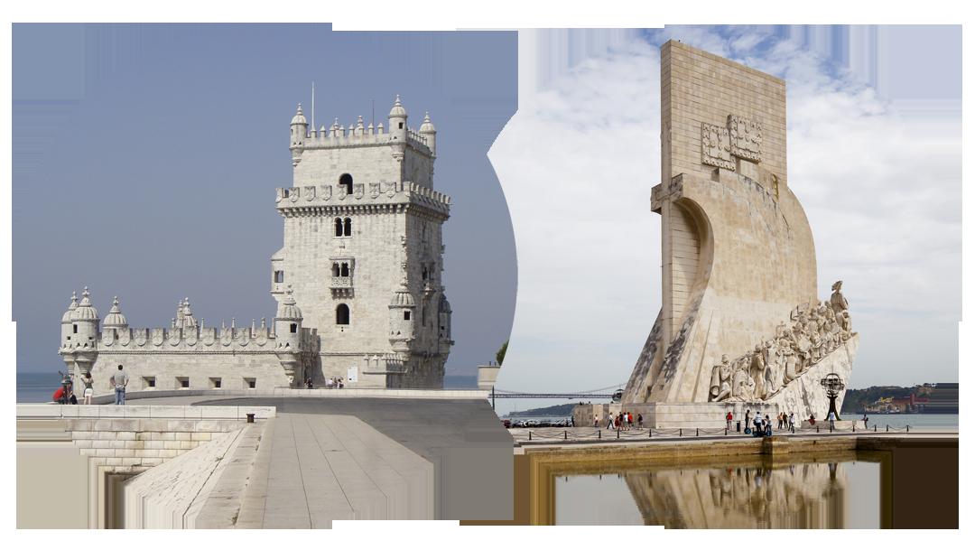 Torre de Belém (foto: Bruno De Lille) & Padrão dos Descobrimentos (foto: Diego Delso, delso.photo, License CC-BY-SA)
