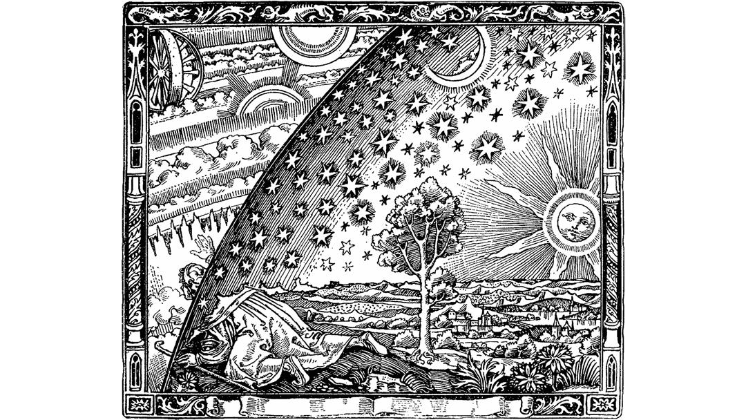 """Afbeelding van een platte aarde (kunstenaar onbekend). De houtsnede staat in Camille Flammarion's boek """"L'atmosphère: météorologie populaire"""" (1888). We zien een middeleeuwse monnik die het punt bereikt waar hemel en aarde samenkomen. Bron: https://commons.wikimedia.org/wiki/File:Flammarion.jpg"""
