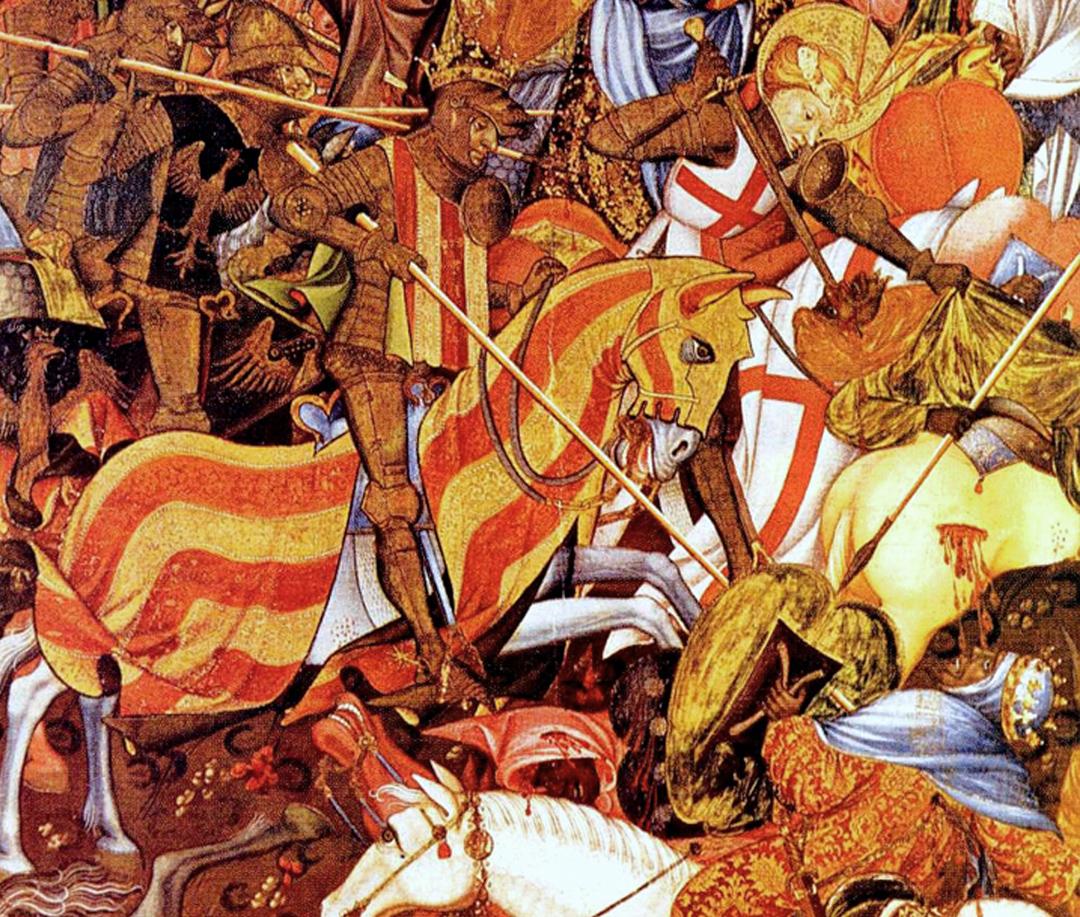 Battle of the Puig (de koning van Aragon, Jaime I, verovert Puig op de moslimtroepen), geschilderd rond 1410/1420 door Marzal de Sas, Victoria and Albert Museum. Londen Bron: https://commons.wikimedia.org/wiki/File:Batalla_del_Puig_por_Marzal_de_Sas_(1410-20).jpg