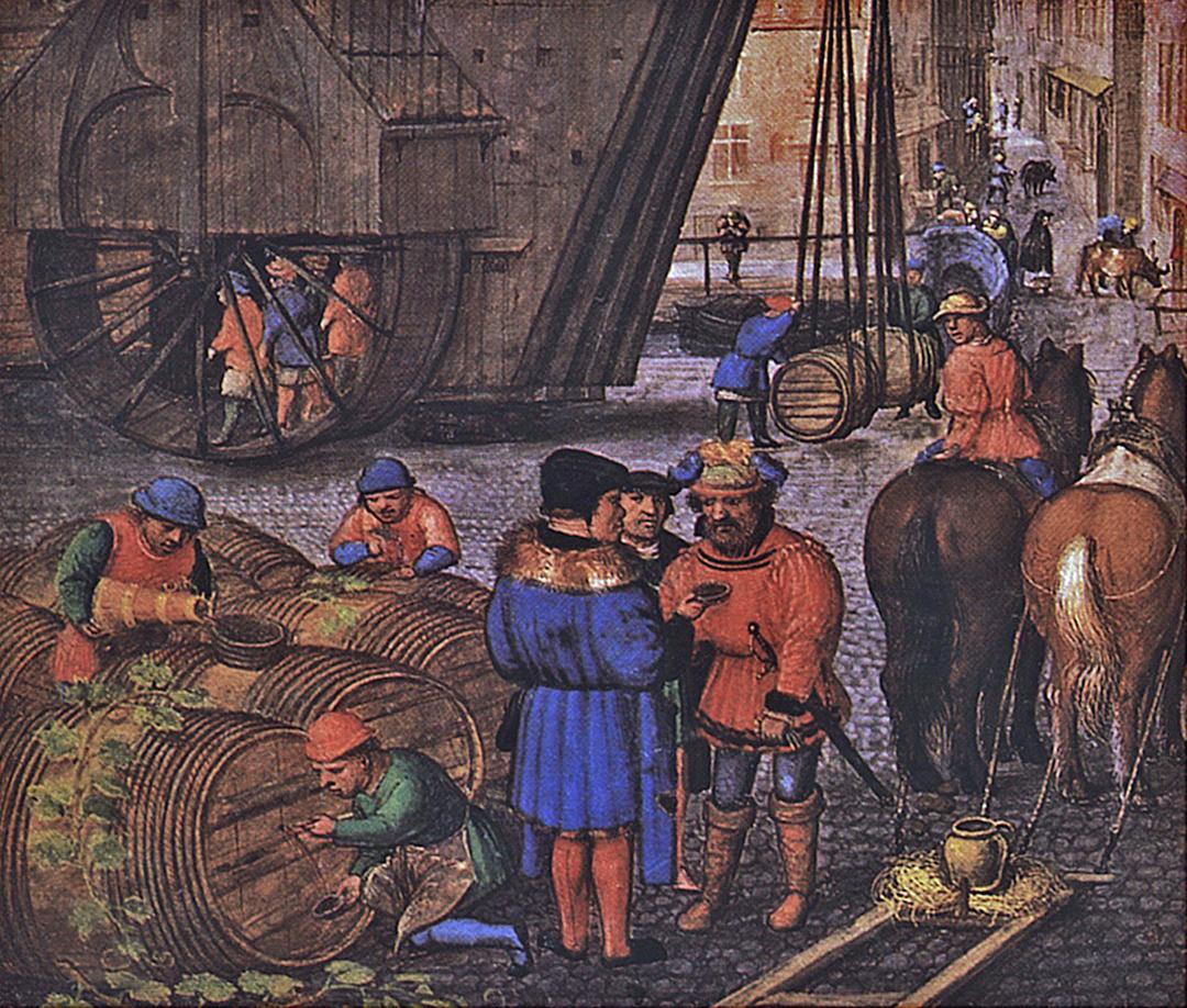 Fragment van een Miniatuur uit een Vlaams Getijdenboek (digitaal bijgewerkt) door Simon Bening (c. 1483 – 1561), Bayerische Staatsbibliotheek te München. Bron: https://commons.wikimedia.org/wiki/File:Simon_Bening_-_Oktober.jpg