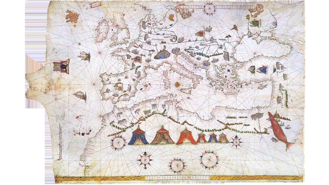Portolaan-kaart van Europa, Noord-Afrika en het Middellandse Zeegbied uit 1541 van de cartograaf Vesconte Maggiolo. Nu in de Kartenabteilung van de Staatsbibliothek Berlin, Duitsland. Bron: https://commons.wikimedia.org/wiki/File:Maggiolo_-_Portolankarte_-_1541.png