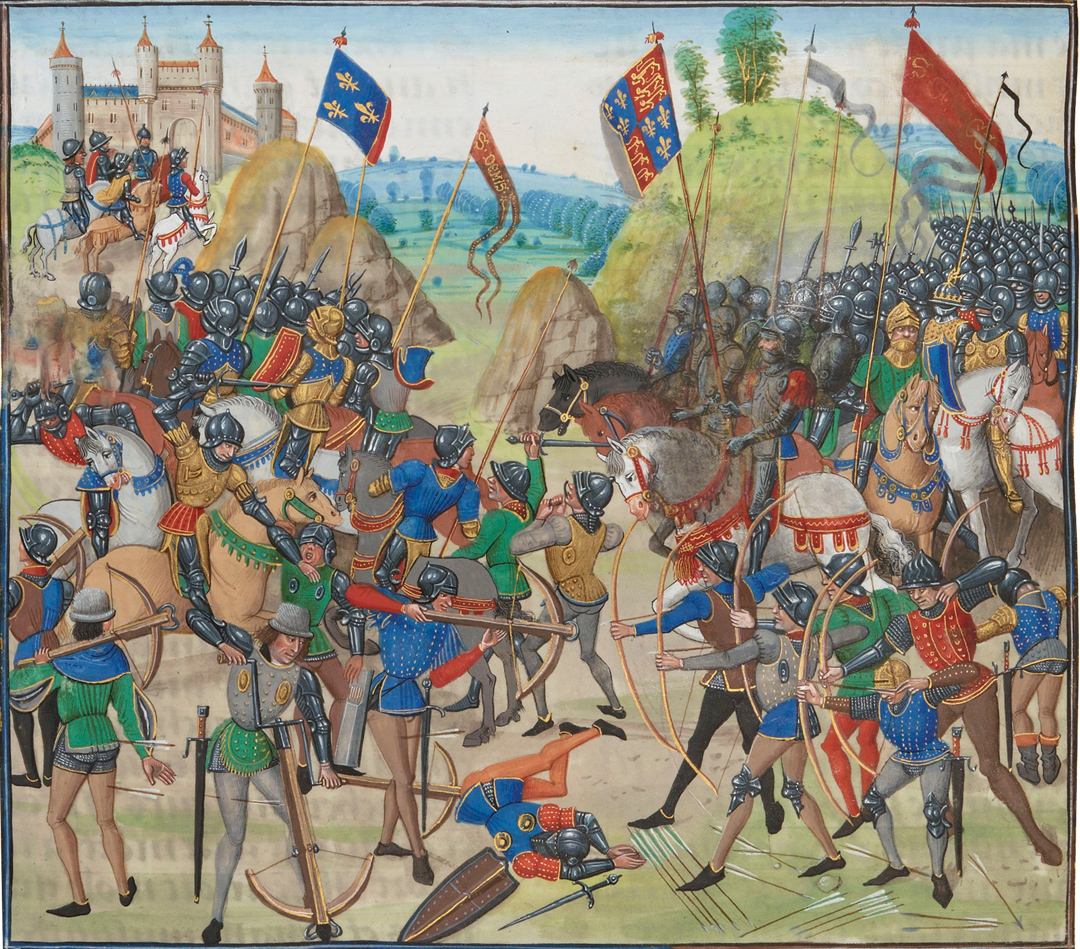 Battle of Crécy tussen de Engelsen en de Fransen tijdens de 100 jarige oorlog - uit een verlucht manuscript van Jean Froissart's Chronicles (15de eeuw). Nu in de Bibliothèque Nationale de France. Bron: https://commons.wikimedia.org/wiki/File:Battle_of_crecy_froissart.jpg