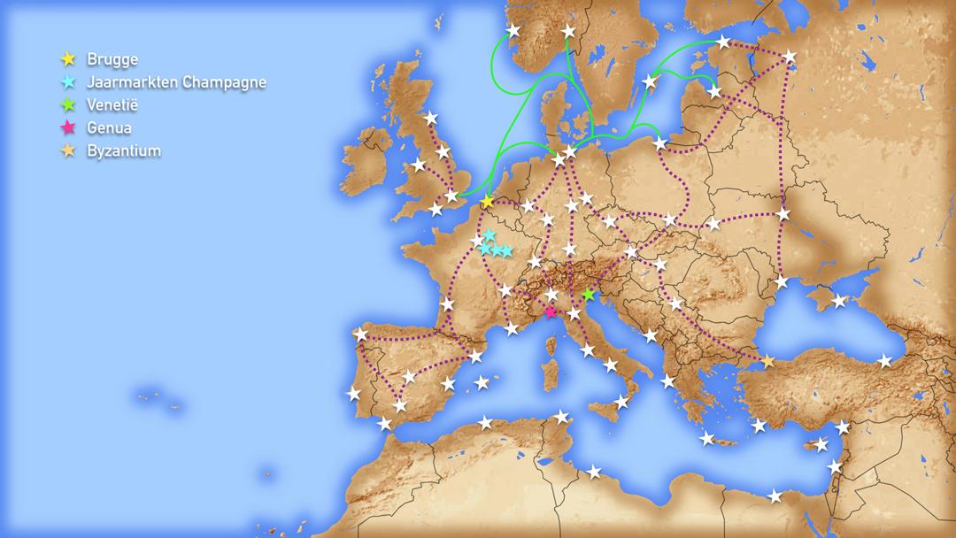 Kaart van Europa met daarop de voornaamste Hanzeroutes (land en zee).