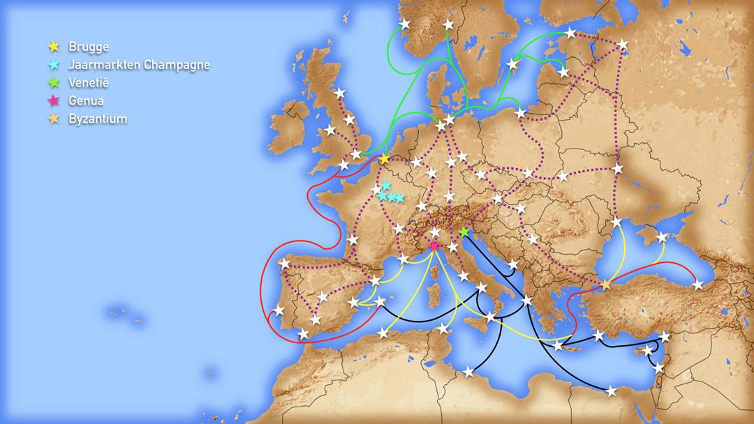 Kaart van Europa met daarop de voornaamste routes die de kooplieden van de Hanzesteden en van Genua en Venetië volgden (land en zee).