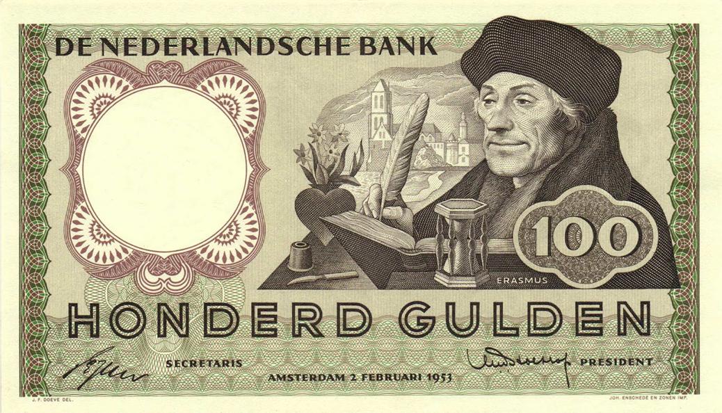Erasmus van Rotterdam werd in Nederland geëerd door hem af te beelden op een biljet van 100 Gulden.