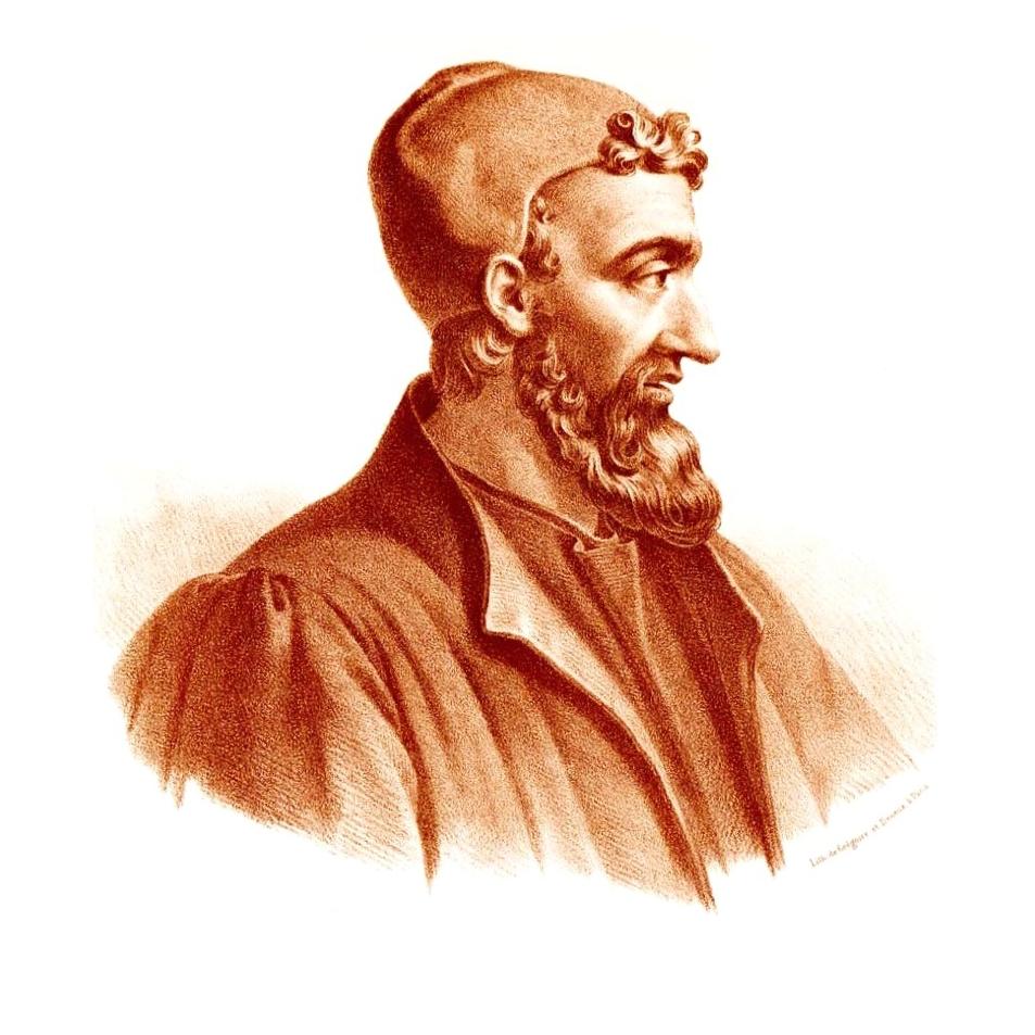 Afbeelding van Claudius Galenus. De lithografie werd rond 1865 gemaakt door de kunstenaar Pierre Roche Vigneron. (Paris: Lithograph by Gregoire et Deneux).