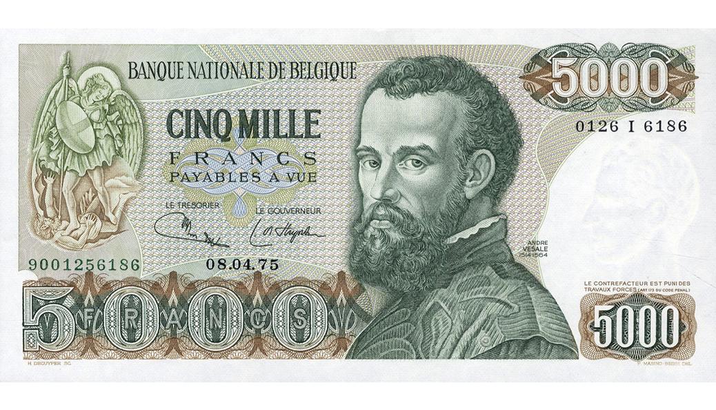 Andreas Vesalius werd in België geëerd door hem af te beelden op een biljet van 5000 Frank