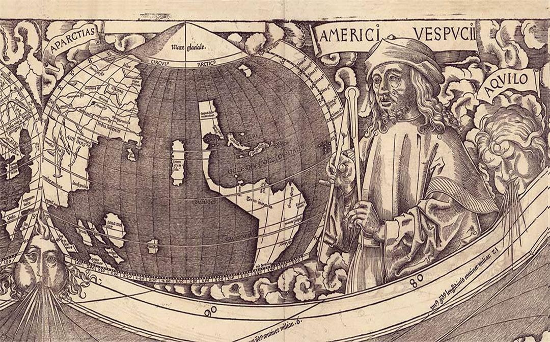Afbeelding van Amerigo Vespucci en Amerika (1507 - door Martin Waldseemüller)