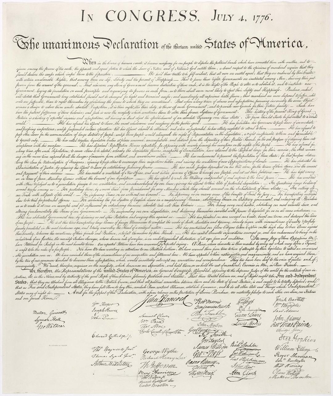 Amerikaanse Onafhankelijkheidsverklaring (1776) - Bron: https://nl.wikipedia.org
