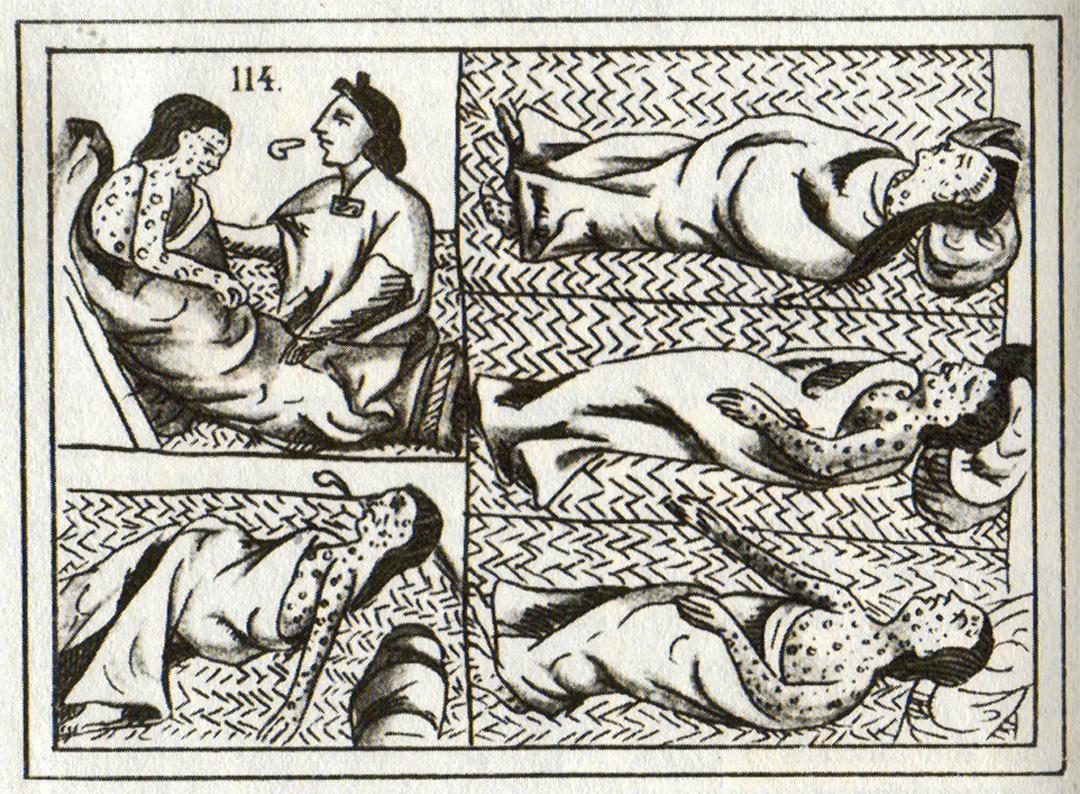 Azteekse slachtoffers van de pokken (16de eeuw).