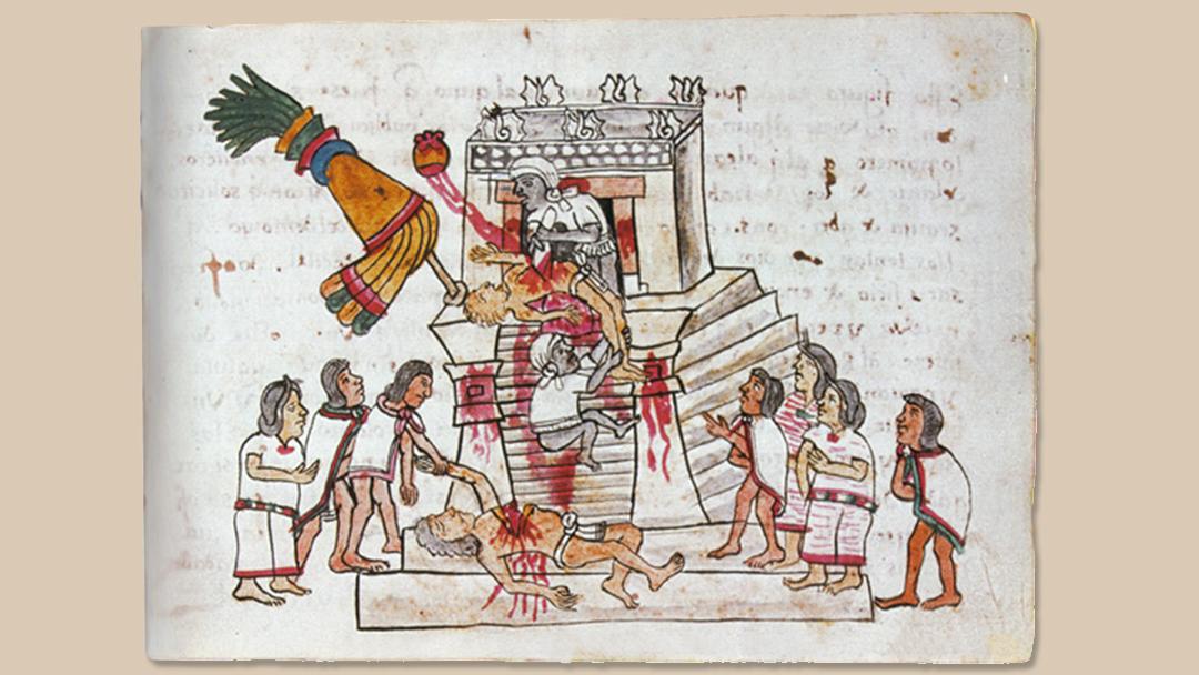 Ritueel mensenoffer door de Azteken. Afbeelding op p 141 van de Codex Magliabechiano. (16de eeuw)