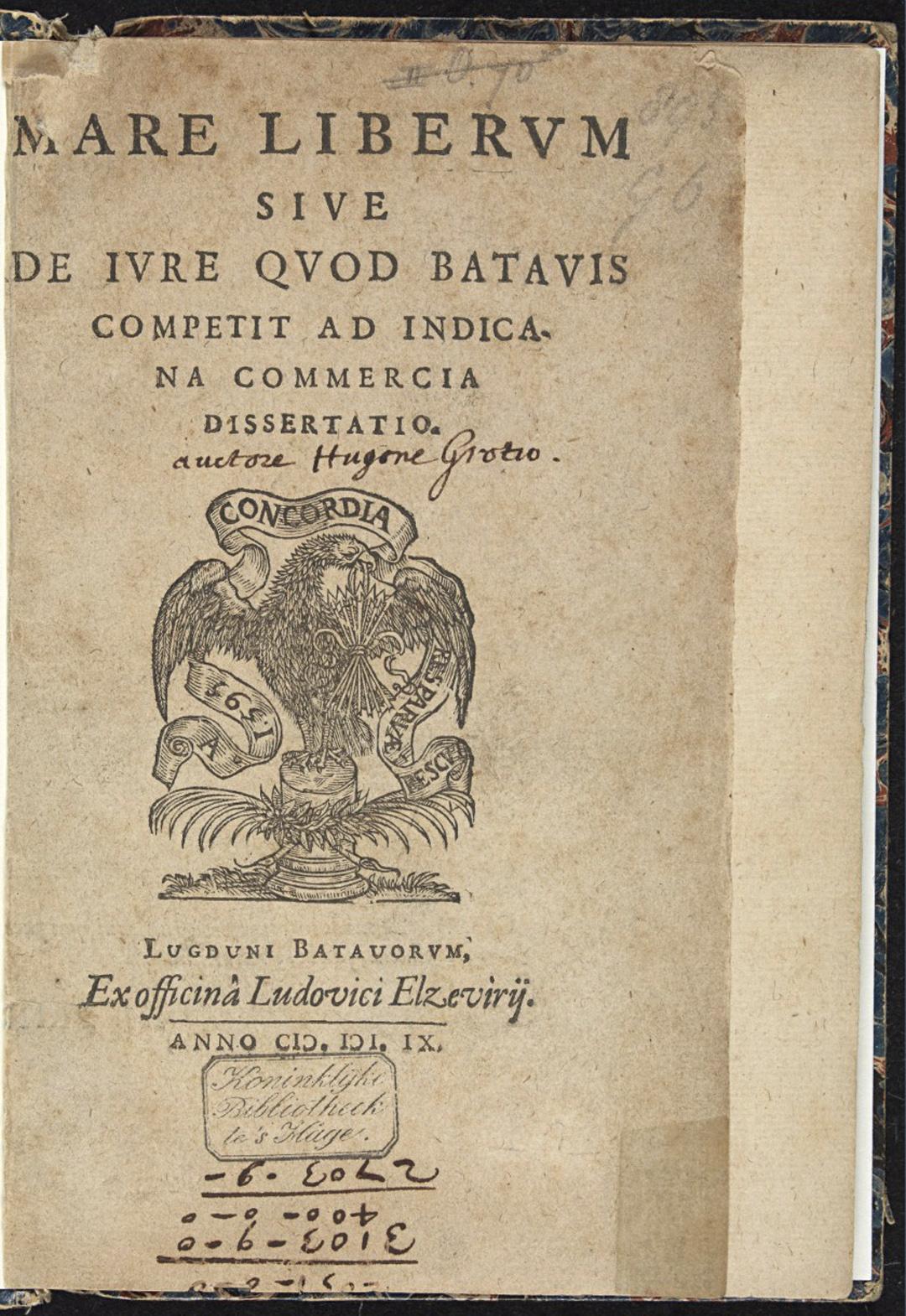 Voorpagina van het boek Mare Liberum van Hugo de Groot (1609). Bron: Koninklijke Bibliotheek van Nederland (https://www.kb.nl/)
