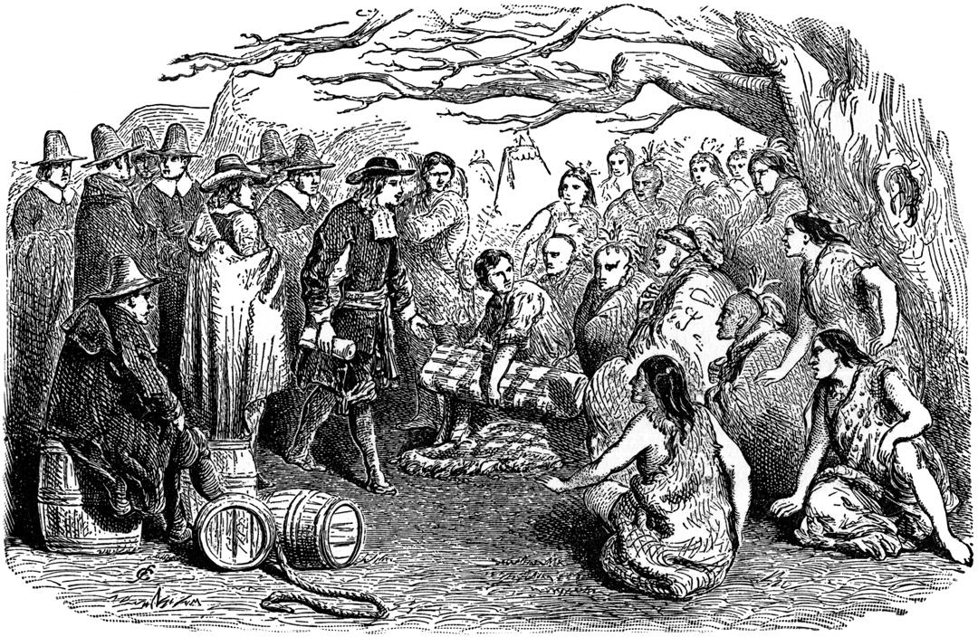 William Penn koopt land van de Delaware-indianen (1683) Bron: Benson John Lossing, ed. Harper's Encyclopedia of United States History (vol. 3) (New York, NY: Harper and Brothers, 1912)