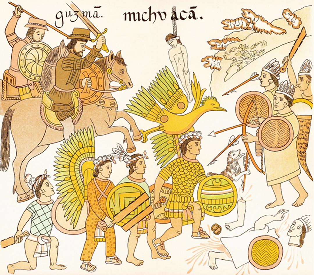 Afbeelding uit de History of Tlaxcala, een geïllustreerde codex van Diego Muñoz Camargo (1585) - Bron: Wikipedia