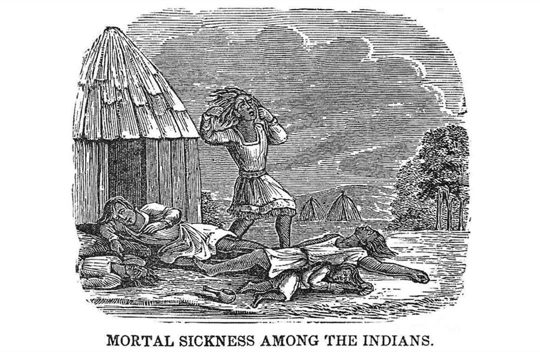 Abenaki-Indianen uit Maine  sterven aan de pokken.  (1740 - Tekening door een Franse missionaris) Bron: https://historicipswich.org