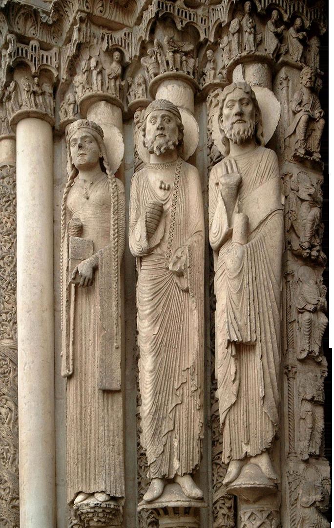 Beelden op de gevel van de kathedraal van Chartres (anoniem - ca. 1134–1145) - bron: https://commons.wikimedia.org/wiki/File:Cenral_tympanum_Chartres.jpg