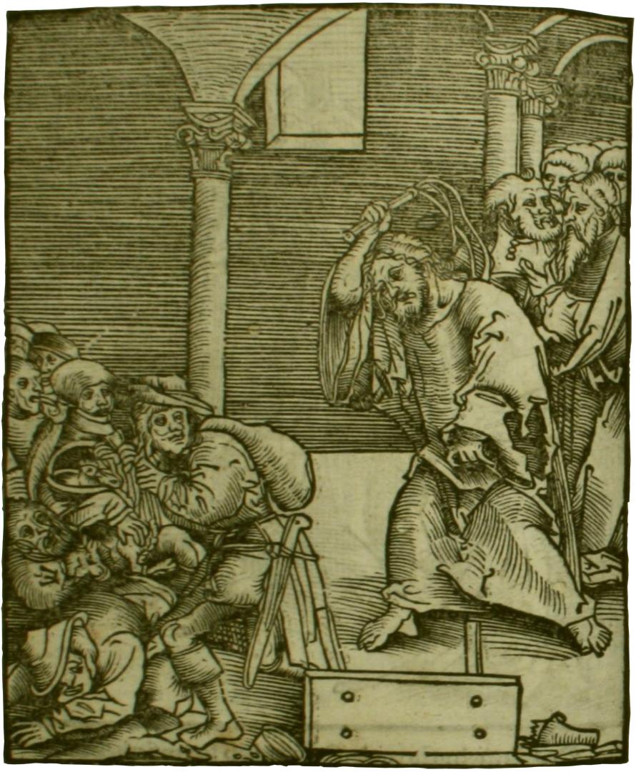 Jezus verjaagt de handelaars uit de tempel. Houtsnede van Lucas Cranach in het boek Passional Christi vnnd Antichristi (1521) - Taylor Institution Library