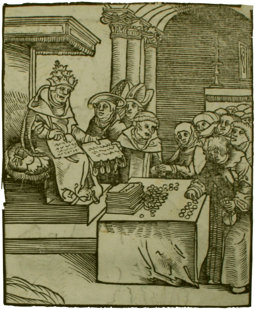 De paus verkoopt aflaten. Houtsnede van Lucas Cranach in het boek Passional Christi vnnd Antichristi (1521) - Taylor Institution Library