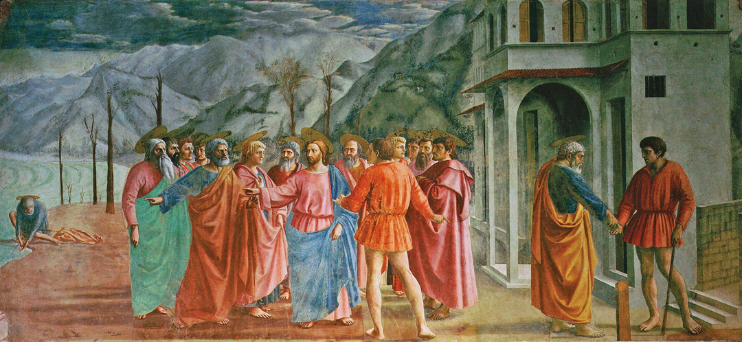 De cijnspenning (ca. 1427) door Masaccio - Brancacci-kapel, Santa Maria del Carmine, Firenze