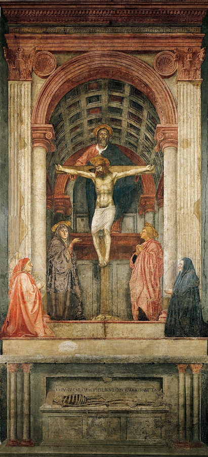 Fresco 'De Heilige Drie-eenheid' (1425 - 1428) door Masaccio
