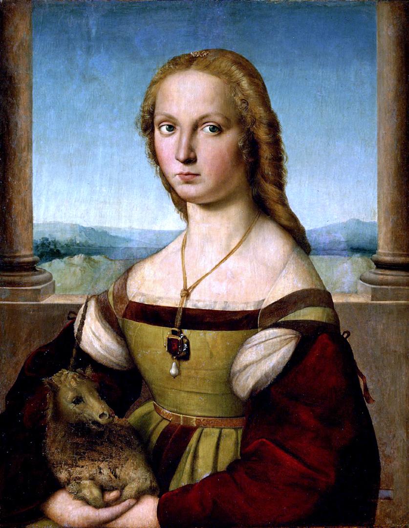 Portret van een jonge vrouw met een eenhoorn door Rafaël (ca 1505)