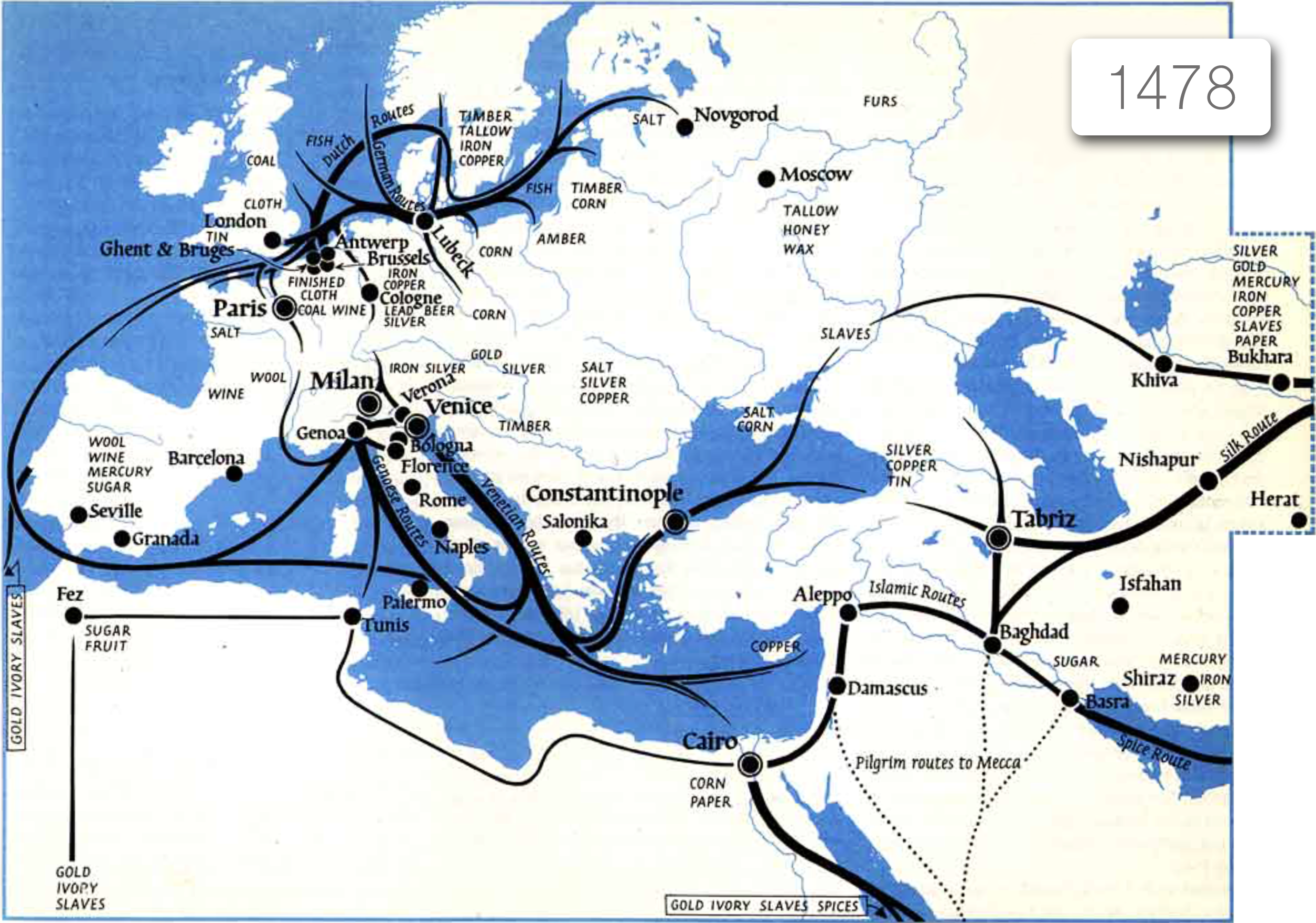 Handelsroutes in 1478 -  Colin McEvedy's The Penguin Atlas of Medieval History , pg. 89 / bron: http://projects.mcah.columbia.edu/