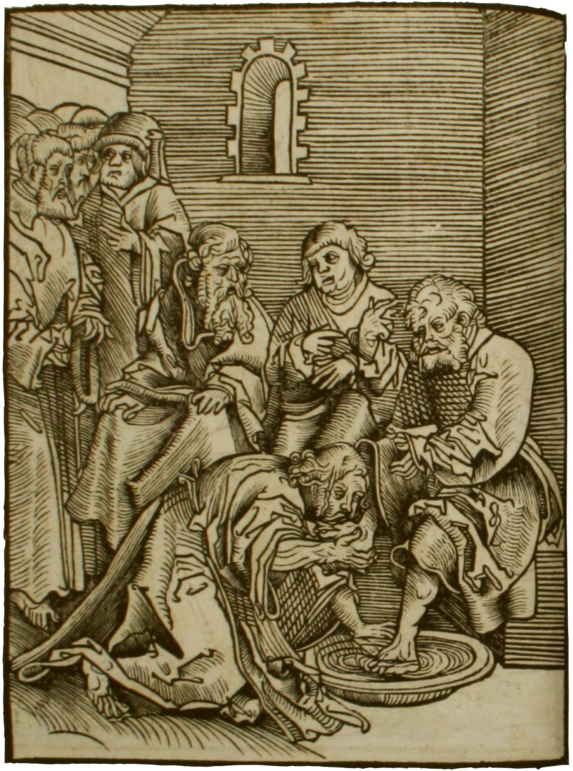 Jezus wast de voeten van zijn leerlingen. Houtsnede van Lucas Cranach in het boek Passional Christi vnnd Antichristi (1521) - Taylor Institution Library