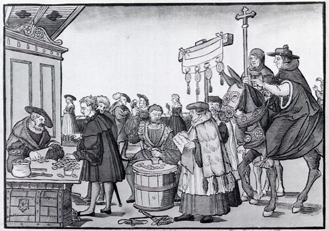 Verkoop van aflaten. Tekening vanJörg Breu de Oude van Augsburg (ca. 1530)