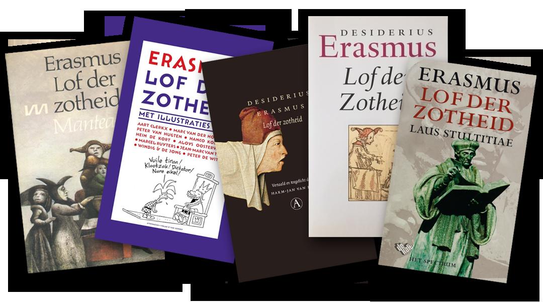 Vijf voorkanten van het boek 'Lof der Zotheid' van Erasmus
