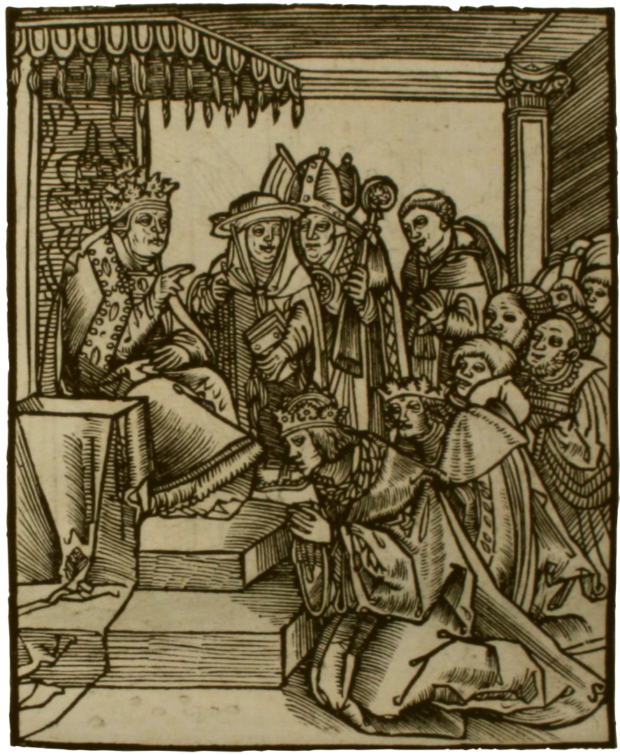 De Paus laat zijn voeten kussen door koningen. Houtsnede van Lucas Cranach in het boek Passional Christi vnnd Antichristi (1521) - Taylor Institution Library