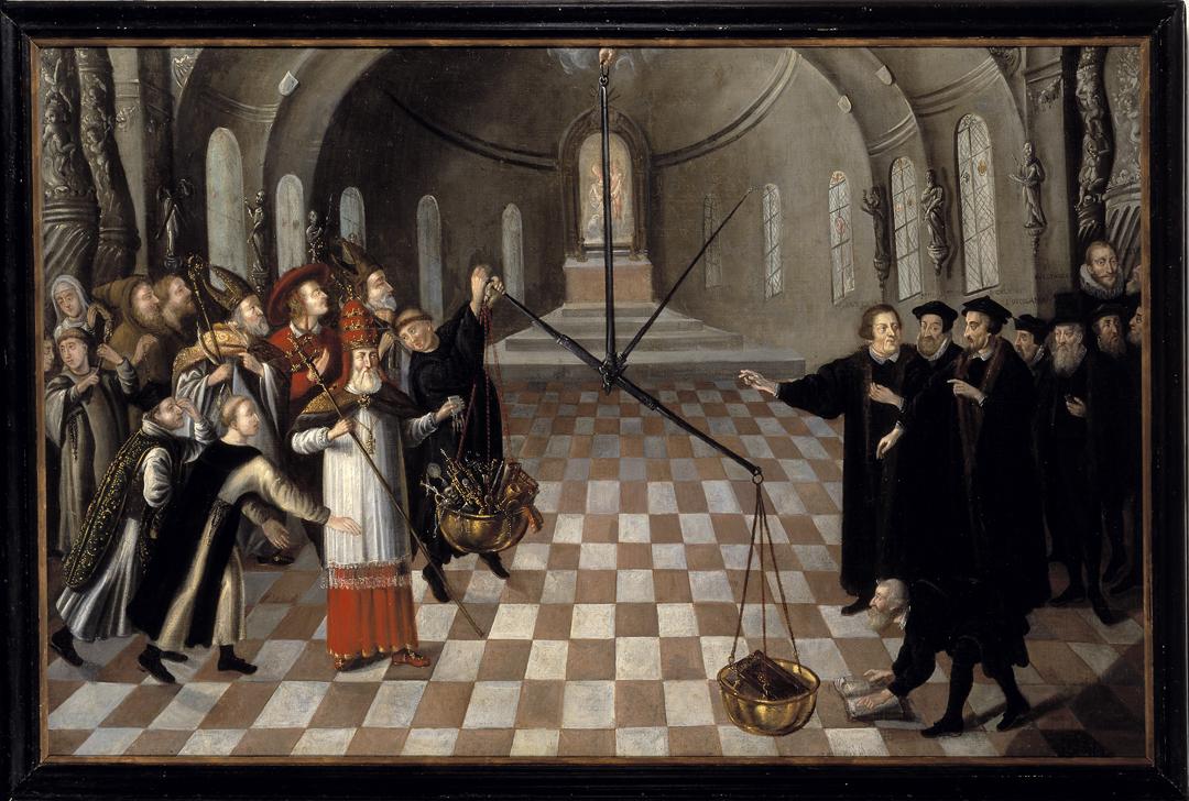 """""""De weegschaal van het ware geloof"""", schilderij van anonieme schilder (eerste helft 17e eeuw), Museum Catharijneconvent, Utrecht, foto Ruben de Heer"""