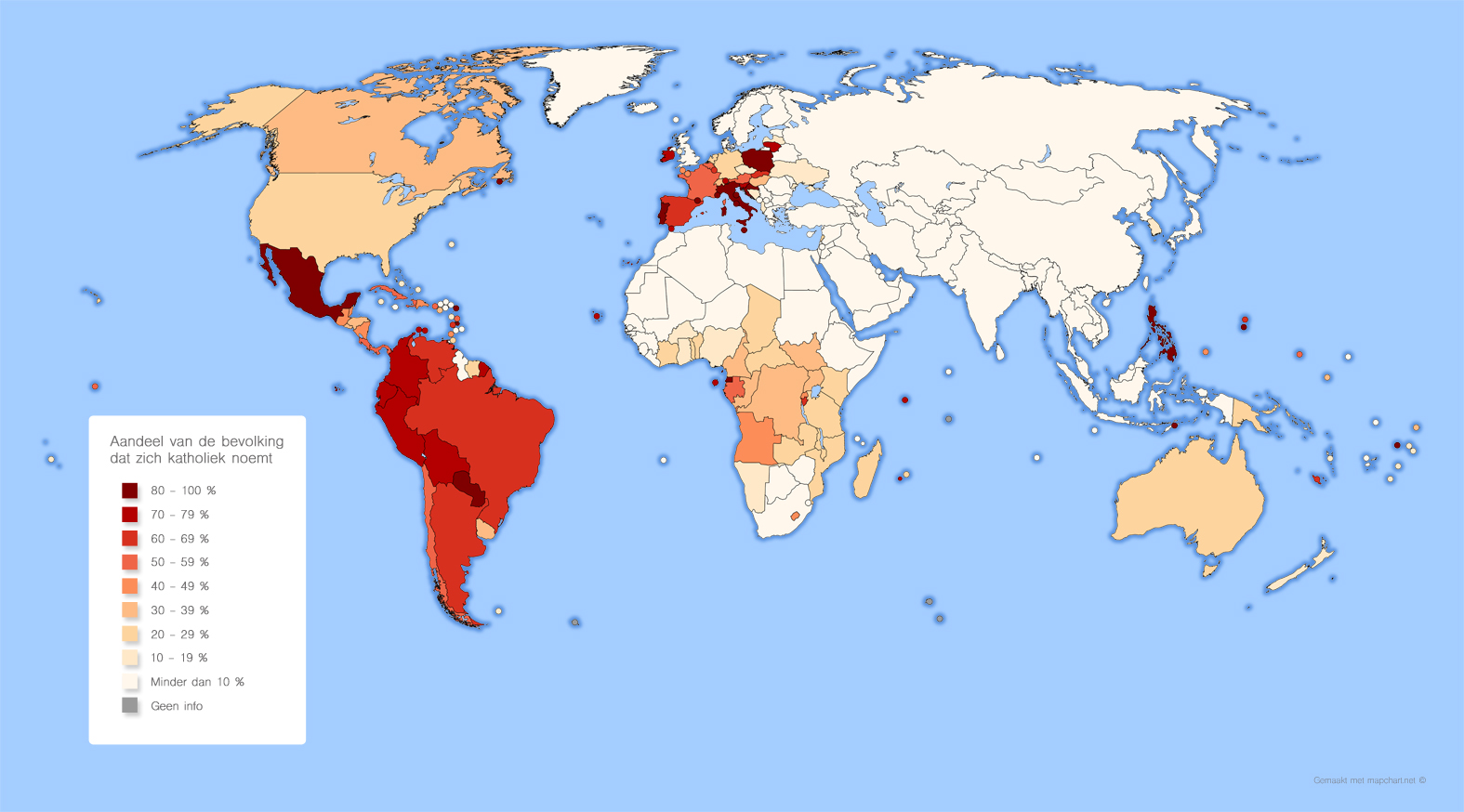 Kaart: Aandeel bevolking dat zich katholiek noemt (2019)