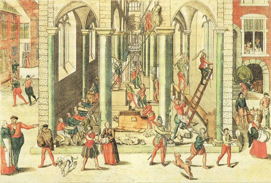 """Gravure """"Beeldenstorm in Antwerpen op 20 augustus 1566"""" door Frans Hogenberg (1566). Bron: https://commons.wikimedia.org/wiki/File:Frans_Hogenberg_Bildersturm_1566.jpg"""
