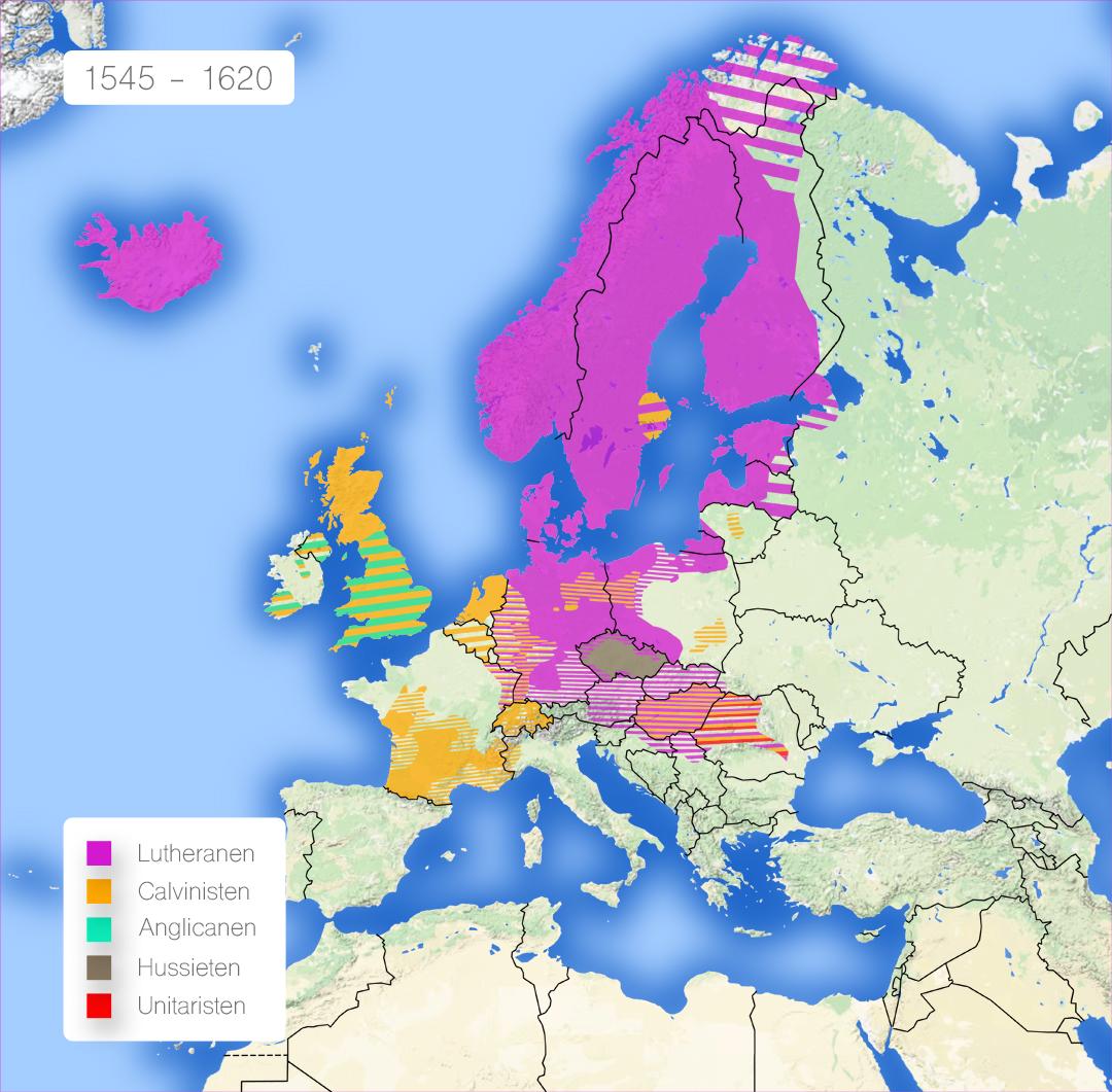 De grootste protestantse stromingen in Europa van 1545 tot 1620. Bron: Wikipedia