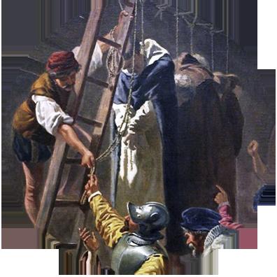 """Fragment uit het schilderij """"De martelaren van Gorkum in 1572."""" door Cesare Fracassini (1867), Vaticaan."""