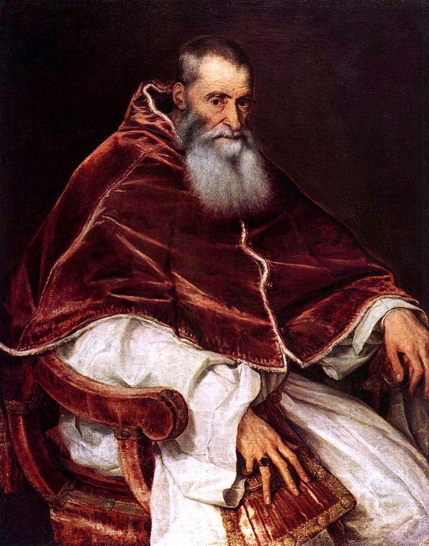 Portret van paus Paulus III door Titiaan (1545), Museo di Capodimonte, Napels.