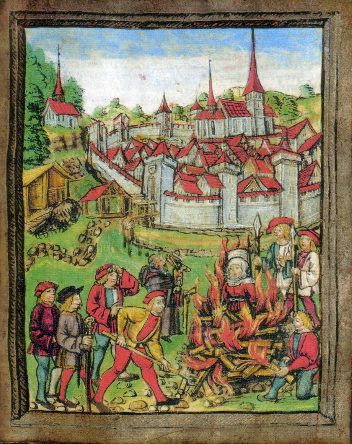 Anna Vögtlin uit Bischoffingen (Breisgau) wordt als heks voor de muren van Willisau verbrand. Er werd gezegd dat ze heilige hosties had gestolen. Afbeelding uit de Luzerner Bilderchronik (1513) van Diepold Schilling. bron: https://commons.wikimedia.org/wiki/File:Willisau_1447.JPG