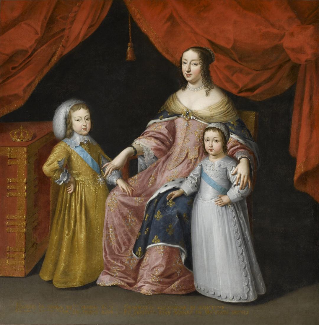 Portret van Anna van Oostenrijk, regentes van Frankrijk, met haar 2 kinderen, Louis XIV en Philippe de France, hertog van Orleans. Geschilderd door een onbekende meester (ca. 1601 - 1650), Château de Versailles. Foto © RMN-GP (Château de Versailles) / © Gérard Blot.