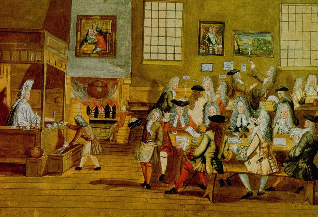 Een koffiehuis in Londen (Anoniem, ca. 1668)