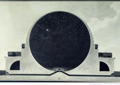 Ontwerp voor een herdenkingsgebouw (Cénothaphe) voor Isaac Newton door Étienne-Louis Boullée (1784), Bibliothèque Nationale de France. Bron: https://gallica.bnf.fr/ark:/12148/btv1b7701015b/f2.item