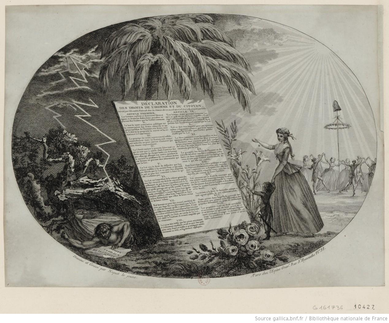 Gravure 'Déclaration des droits de l'homme' door (Claude) Niquet le jeune (1789), Bibliothèque Nationale de France