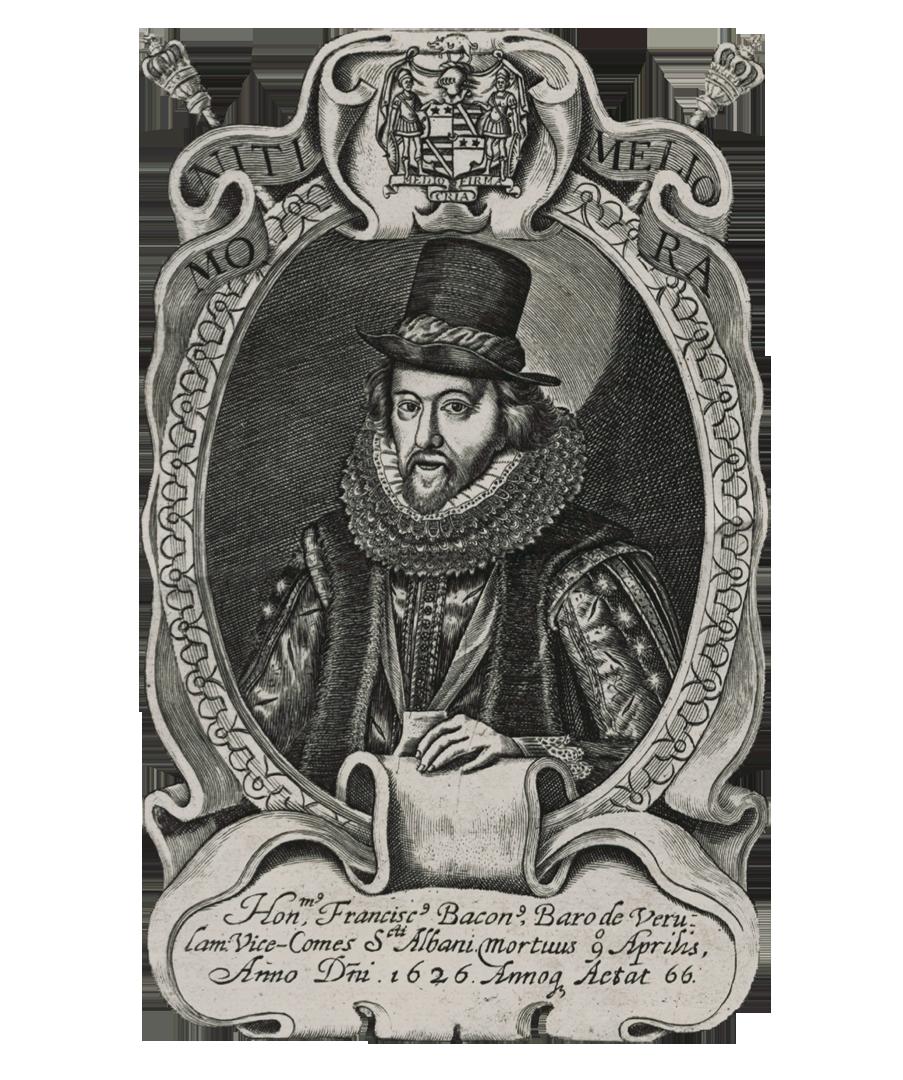 Francis Bacon (digitaal bewerkte gravure - 1658), Londen