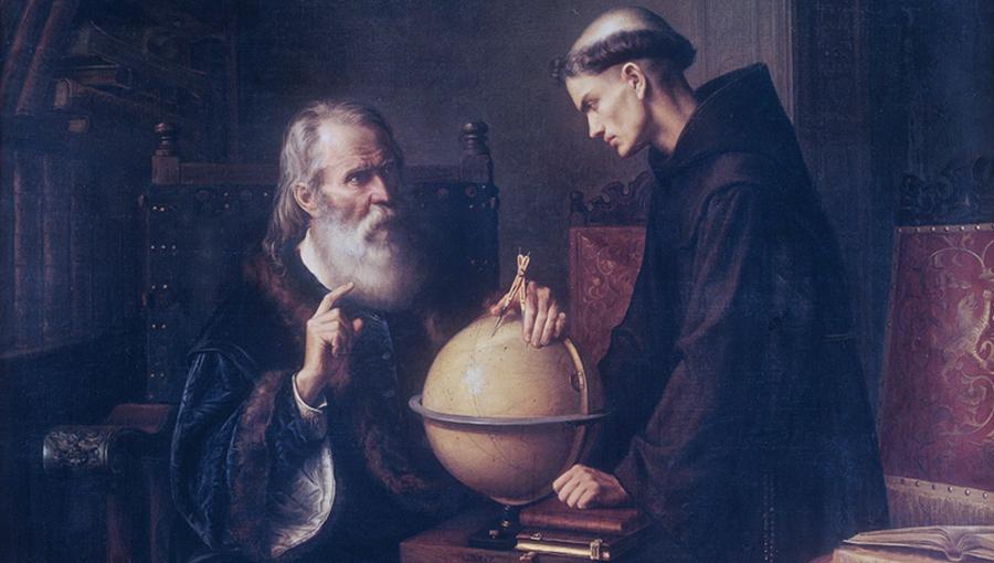 """Fragment uit het schilderij """"Galileo Demonstrating the New Astronomical Theories at the University of Padua"""" van Félix Parra (1873), Museo Nacional de Arte, Mexico."""