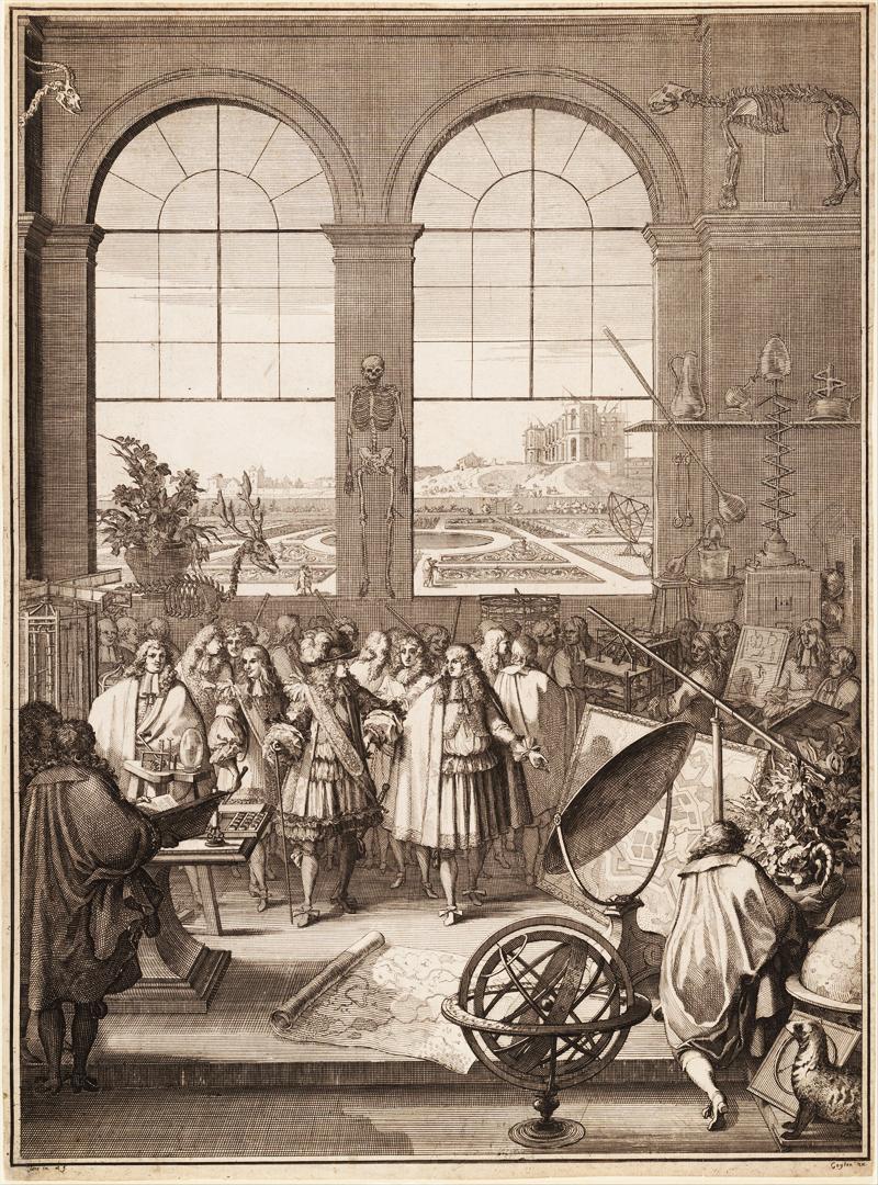 """Gravure """"Lodewijk XIV bezoekt de Koninklijke Academie van Wetenschappen"""" door Sébastien Le Clerc (1671), Metropolitan Museum of Art, New York."""
