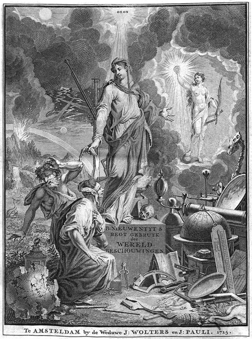 Tekening 'Het regt gebruik der werelt beschouwingen, ter overtuiginge van ongodisten en ongelovigen aangetoont' door Bernard Nieuwentijt (1715 - 1720), Universteit Utrecht