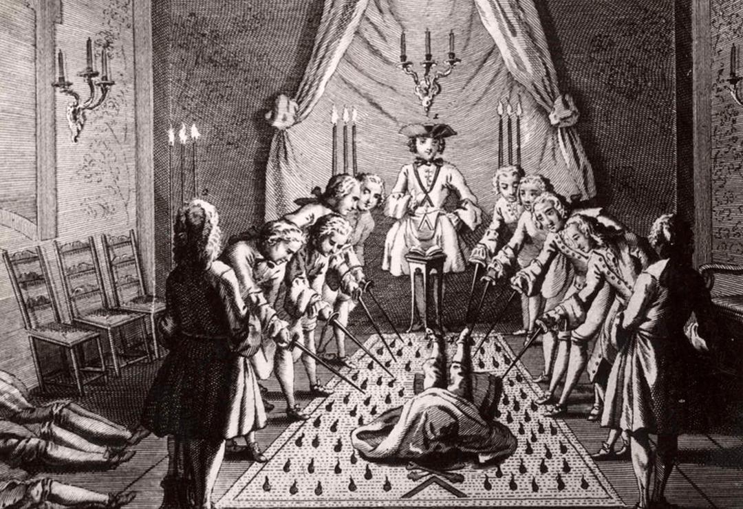 Inwijding van een meester in een vrijmetselaarsloge (anonieme kunstenaar, 18de eeuw)
