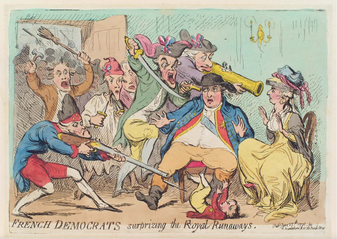 "Karikatuur ""French democrats surprising the royal runaways"" door James Gillray (1791), National Portrait Gallery, Londen"
