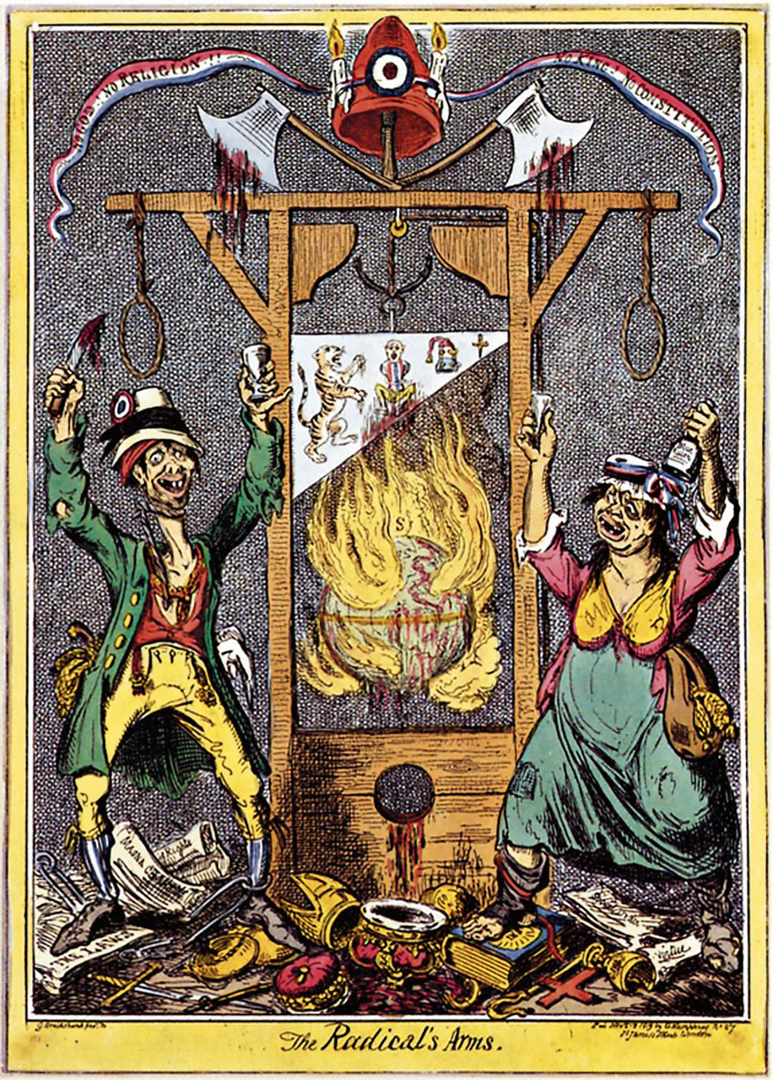 "Karikatuur ""The Radical's Arms"" door George Cruikshank (1819), British Museum, Londen"