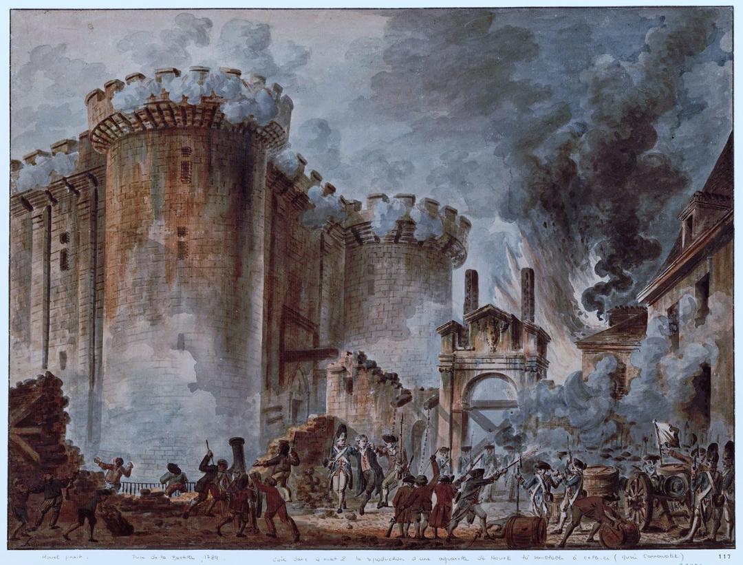 """Aquarel """"De bestorming van de Bastille"""" door Jean-Pierre Hoüel (1789), Bibliothèque Nationale de France"""