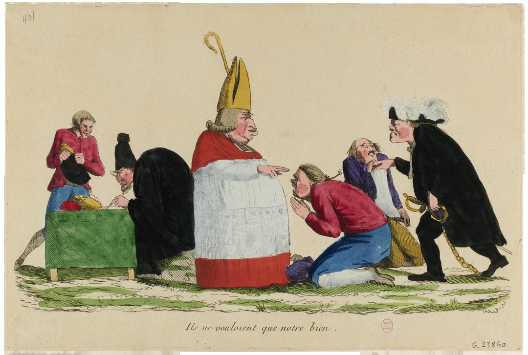 """Karikatuur """"Paysan Béni par un évêque, soumis par un noble et payant l'impôt à un greffier."""" door een anonieme kunstenaar (1789), Musée Carnavalet, Histoire de Paris, Parijs"""